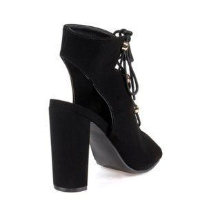 Fahrenheit Shoes - Lace up Chunky Heel Faux Suede Open toe Bootie
